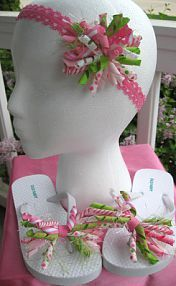 @Julie Forrest Williamson Can you make something like this? Flip Flops specifically? matching korker bows and flip flop bows!