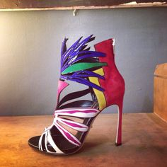 A shoe from the new Sergio Rossi SS15 collection, inspired by Henri Matisse's later work of bright coloured cut-outs. #sergiorossi @sergiorossi #MFW