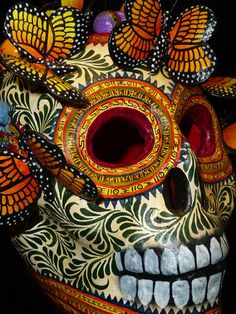 Exceptional Mexican Folk Art Ceramic Monarch Butterfly Skull - A. Castillo - from Peyote People Store on Ebay