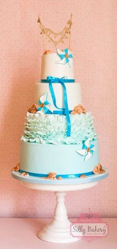 blue beach wedding cake