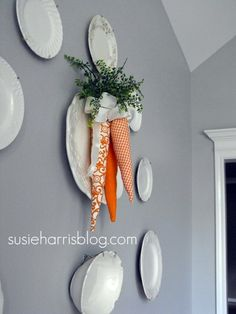 I made fabric carrots, mine are short and fatter, but really cute.  I'll have to try the longer ones.