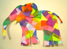 Elmer with tissue paper. Looking for wall art to put above the crib. This could be cute if done right!!