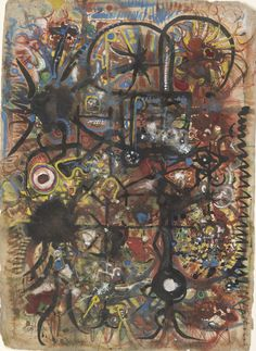 """Later this month, come and see a survey of the long, prolific career of one of the twentieth century's most creative draftsmen in our new exhibition """"Full Circle: Works on Paper by Richard Pousette-Dart."""" - """"Garnet Realm,"""" 1941–43, by Richard Pousette-Dart (© 2014 Estate of Richard Pousette Dart/Artists Rights Society (ARS), New York)"""