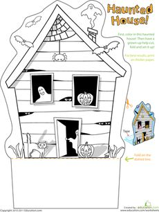 Printable Haunted House.  Print on card stock, color and stand up for a 3D craft.
