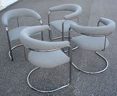 4 Mid Century Chrome Anton Lorenz Thonet Cantilever Chairs | Furnish Me Vintage