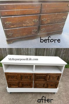 a free dresser transformed into a faux card catalog media center, t.v. stand, buffet