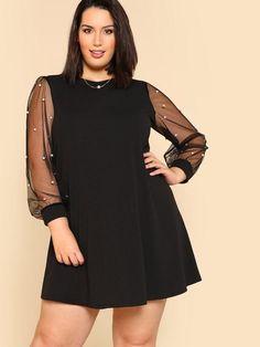 Plus Size Pearl Beading Mesh Sleeve Dress
