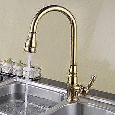 QTLI Deck Mounted Single Handle One Hole Brass with Ti-PVD Gold Kitchen Faucet Pullout Spray Sink Mixer Water Tap - - Amazon.com