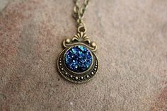 Druzy Sky  necklace, Druzy necklace, Skyway to Heaven Necklace. This cute Victorian Pendant necklace has  a faux Druzy Gemstone Imbeddet into the Setting. The lenght of this necklace is customizable.