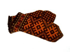 hand knitted warm wool mittens, knit latvian mittens, knitting colorfull brown orange gloves, handmade ethnic hand warmers, patterned mitts by peonijahandmadeshop on Etsy