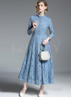 Solid Color Long Sleeve Hollow Out Lace Maxi Dress Dresses Long Tunic Dress, Long Sleeve Maxi, Dress With Cardigan, Maxi Dress With Sleeves, Lace Maxi, Lace Dress, Salwar Neck Designs, Kurti Designs Party Wear, Mode Hijab