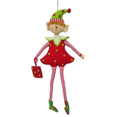 "Skinny Leg Fabric Felt Elf with Package Size: 23"" Material: Fabric, Felt For decoration only - not intended for children - this is not a toy  This item is on order and arriving Summer 2015"