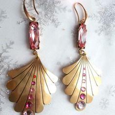 Boucles d'oreilles vintage romantique rose et metal