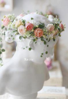 2014.7.27 花冠とリストレット ピーチ×ピンク×ナチュラルグリーン : Ro:zic die floristin