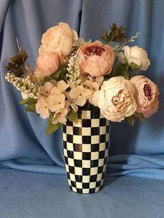 Black & White Hand Painted Chequered Flower Vase