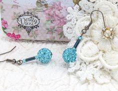 Diamanté Earrings - Aqua Blue - Handmade - Sparkle - Casual to Occasion - Gift for Her - Dainty - Unique - Original - Lightweight - Elegant