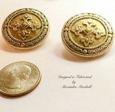 Love these antique silver and gold tone button style earrings by Alexandra Marshall with Byzantine Cross embellishment. Specify preference for clips or posts. #2393. $19.