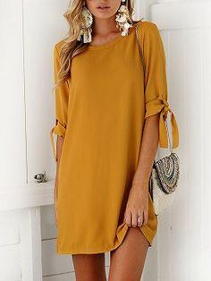 c2518f1e61 Shop Yellow Tie Sleeve Shift Mini Dress from choies.com .Free shipping  Worldwide.