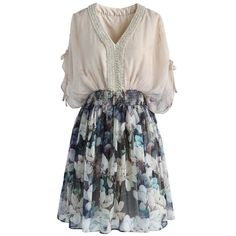 Chicwish Magnolia Treasure Chiffon Dress ($68) ❤ liked on Polyvore featuring dresses, beige, lined dress, floral print dress, beaded dress, flutter sleeve dress and floral day dress