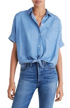 MADEWELL TIE FRONT SHORT SLEEVE DENIM SHIRT. #madewell #cloth #