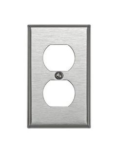 Leviton 84003 1-Gang Duplex Device Receptacle Wallplate, Standard Size, Device Mount, Stainless Steel by Leviton. $4.99. From the Manufacturer                Leviton Combination Wallplates come in a variety of configurations and gangs, and are available in a broad selection of materials including, aluminum, brass, stainless steel and plastic, and in an assortment of colors. If you have a unique application, Leviton can also customize a wallplate for a specific job.1-Gang Duplex ...