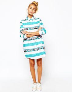 Image 4 ofLazy Oaf Oversized Shirt With Tomorrow Stripe Print