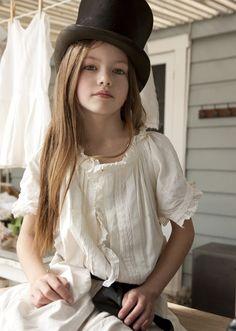 Girl in Top Hat  ~ Vintage White