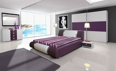 Do you like violet? http://www.mirjan24.pl/meble-sypialniane/1658-sypialnia-ravido-ii-5900101505334.html #bedroom #bed