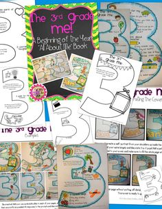 """BACK TO SCHOOL for GRADE 3! Let your students introduce themselves with this Beginning of the Year All About Me """"craftivity"""". Kiddos will decorate and record information about themselves on a variety of pages shaped as the number 3!"""