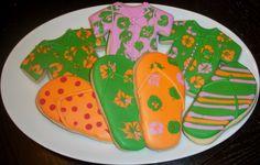 hawaiian decorated cookies | Hawaiian Shirt Cookies (and Flip Flops!)
