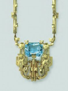 Art Deco.  Gold and Aquamarine Necklace,Theodor Wende, c1936.