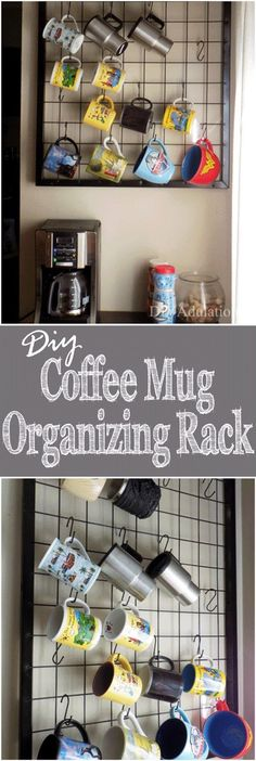 Having all of your mugs on display with this DIY coffee mug organizing rack will totally brighten up your mornings and you will have more cabinet space!