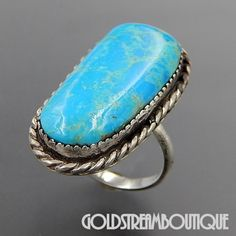 Native American Navajo Sterling Silver American Turquoise Saw Tooth Set Rope Elongated Ring - Size 6.25