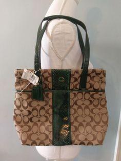 COACH LOT NEW Signature Python Stripe Tote bag GREEN/KHAKI F25706 &  DUST BAG #Coach #TotesShoppers