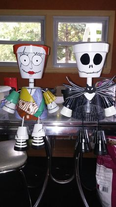Jack Skellington and Sally clay pots: