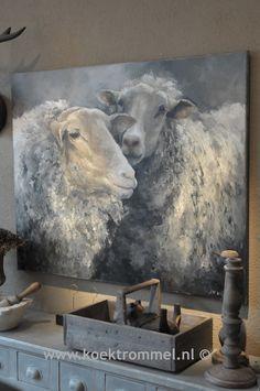 Schilderij met twee schapen. Het gemaakt met acrylverf en heeft daarna een vernislaag gekregen.