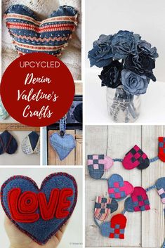 A unique collection of upcycled denim Valentine's crafts and gifts to make from your old jeans. Jean Crafts, Denim Crafts, Upcycled Crafts, Valentine Banner, Valentine Decorations, Decoration Crafts, Homemade Valentines, Valentine Day Crafts, Diy Craft Projects