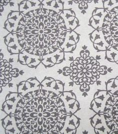 Snuggle Flannel Fabric Black Gray Medallion