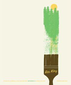 "Rilo Kiley music poster by Jason Munn Looks like a poster for Bob Ross ""happy trees"""