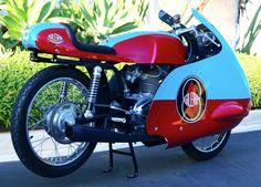 Cool Color Combo - 1958 Custom Restored Gilera Road Racing Motorcycle