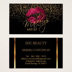 Shop Makeup Artist - Gold Confetti & Hot Pink 💋 Lips Business Card created by DesignsbyDonnaSiggy. Makeup Artist Cards, Makeup Artist Logo, Visiting Card Design, Hot Pink Lips, Bussiness Card, Makeup Artist Business Cards, Gold Confetti, Branding, Business Card Design