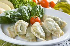 Dumplings, Tofu, Cake Recipes, Pierogi, Veggies, Cooking Recipes, Lunch, Chicken, Meat