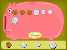 Count up the coins to find out how much money has been saved in the piggy bank! In this manipulatives math game, kids practice counting up coins and adding money to this virtual piggy bank. Second Grade Games, 2nd Grade Math, Bank Games, Promethean Board, Money Games, Time Games, Algebra Activities, Kindergarten Art, Worksheets For Kids
