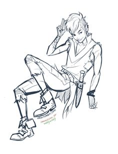 a commissioned sketch of punk! Peter Pan was one of the most interesting ones I've gotten! Thank wobblywibbly for commissioning such a cool idea<3