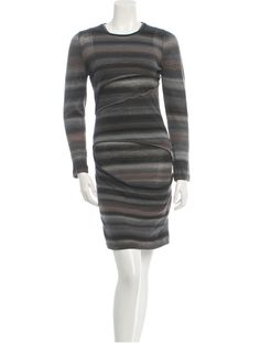 Brown and grey A.L.C. long sleeve dress with scoop neck.