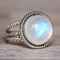 Silver Double Twist Moonstone Ring   Bohemian Gypsy Festival Jewellery   Indie and Harper