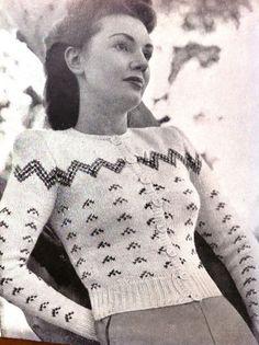 Items similar to style- fair isle cardigan - elegant- knitting ePattern PDF vintage style on Etsy Fair Isle Knitting Patterns, Sweater Knitting Patterns, Knit Patterns, Crochet Pattern, 40s Fashion, Knit Fashion, Vintage Fashion, Vintage Style, Cardigan Sweaters For Women