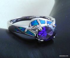 'sz 7 Pacific Blue Fire Opal & Lab Purple Amethyst Ring' is going up for auction at  6am Thu, Jul 4 with a starting bid of $1.