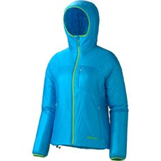 Marmot Dena Jacket (Women's) - Synthetic Fill. This jacket is very light, fairly warm, and pretty durable. The hood fits very well,can accommodate a helmet, and comes up all the way up the neck to the chin even with the hood down. There is TONS of pocket space which is nice for camping or walking around town. It also comes in some pretty sweet colors.