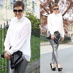 Silver pants (by Sassi .) http://lookbook.nu/look/3449655-silver-pants